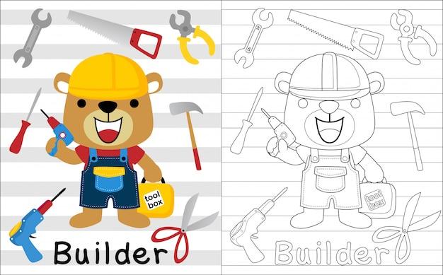 Nice builder cartoon with its tools Premium Vector