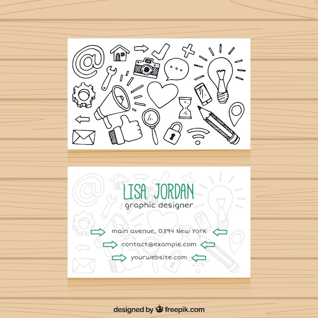Nice business card with drawings vector free download nice business card with drawings free vector reheart Image collections