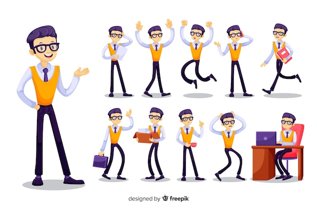 Nice businessman doing different actions Free Vector