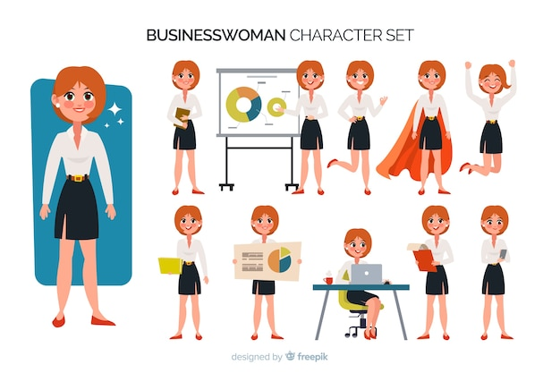 Nice businesswoman character set Free Vector