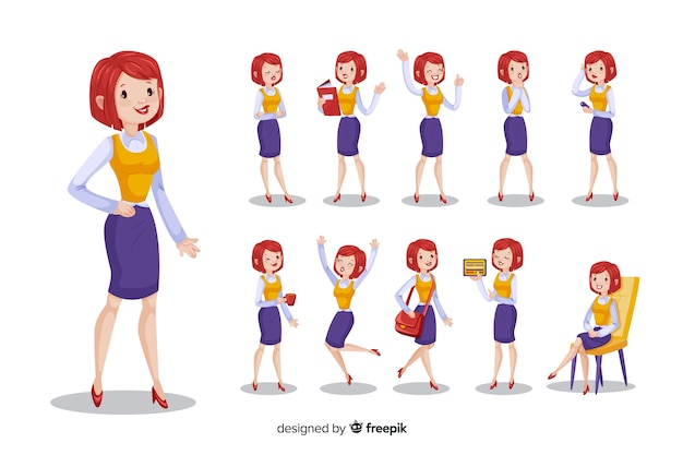 Nice businesswoman doing different actions Free Vector