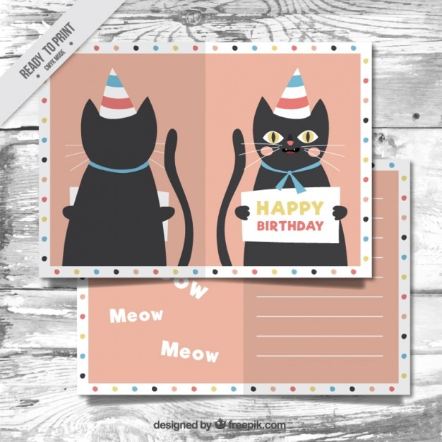 Nice Cat Birthday Card Vector Free Download
