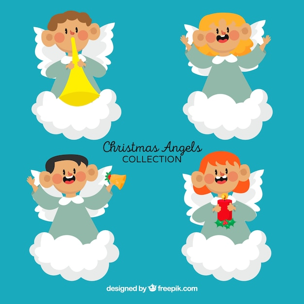 Nice characters of christmas angels with cloud