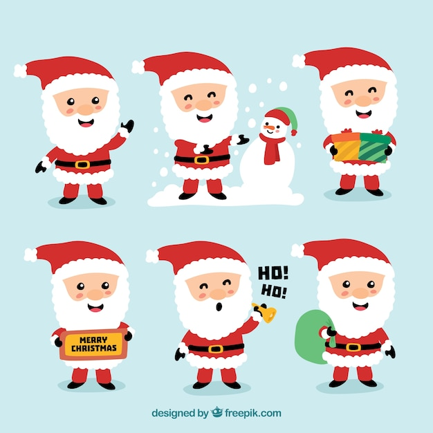 Nice characters of santa claus set