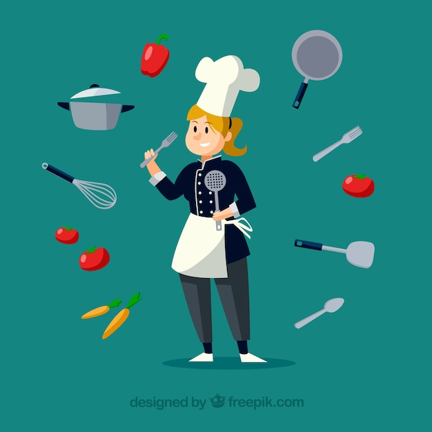 Nice chef with ingredients and cooking utensils all around Free Vector