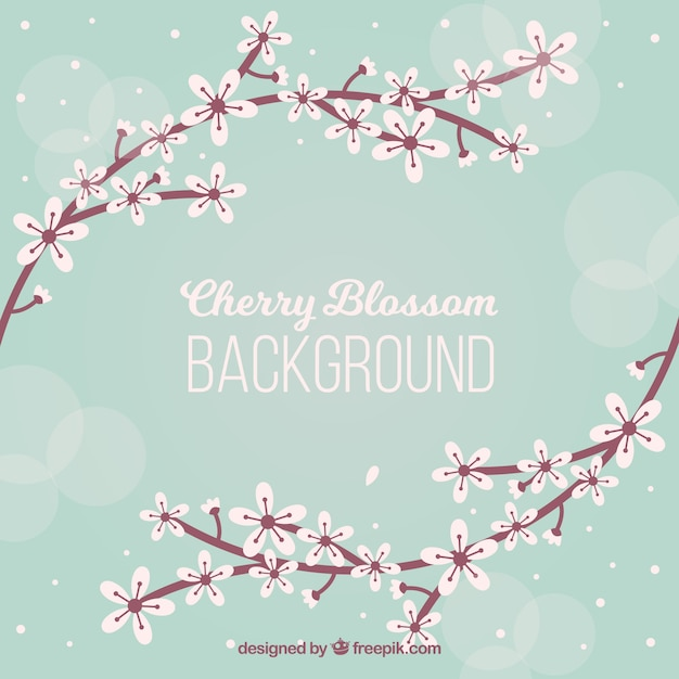 Nice cherry blossom background in flat design Free Vector