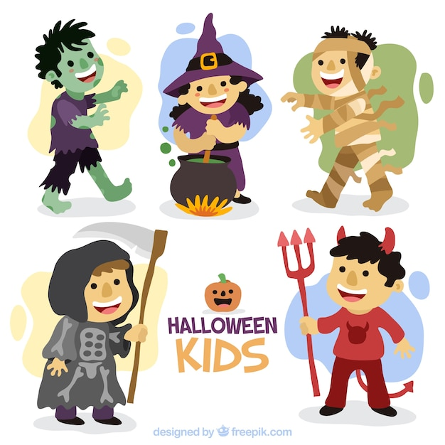 Nice children set with hand-drawn halloween costumes Free Vector  sc 1 st  Freepik : halloween costumes free  - Germanpascual.Com