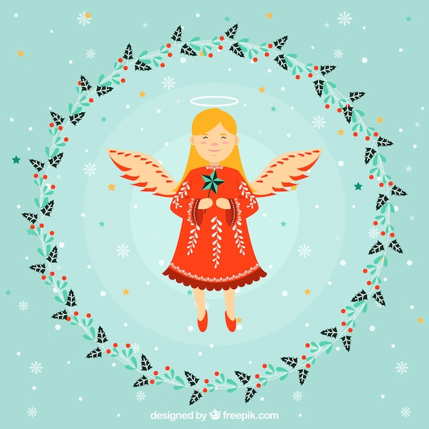 Nice christmas angel in a flower wreath frame