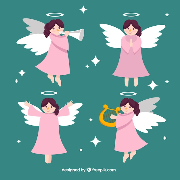 Nice christmas angel in different positions