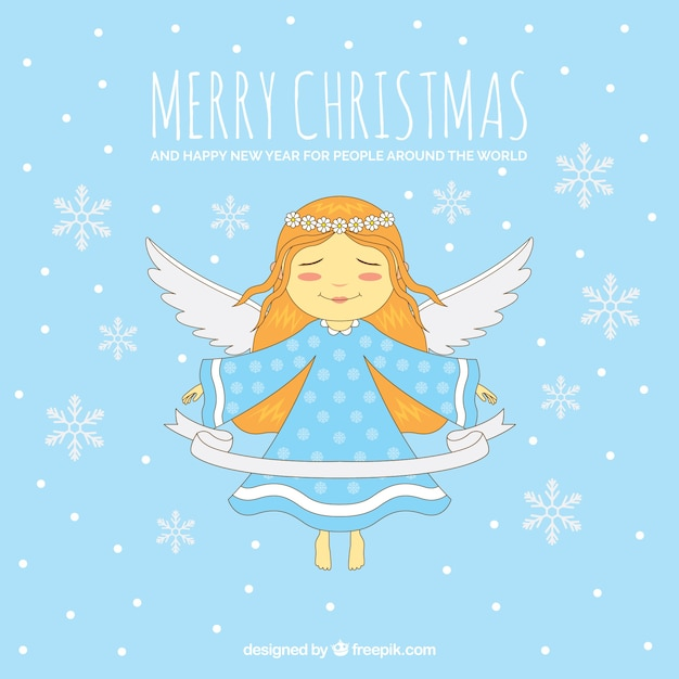 Nice christmas angel on a blue background