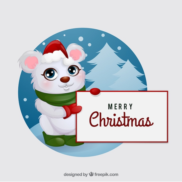 Nice christmas animal with blank sign