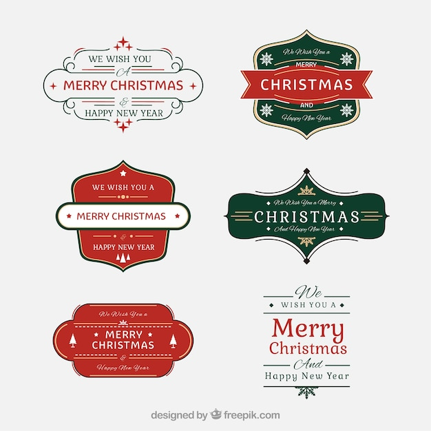Nice christmas badges in red and green