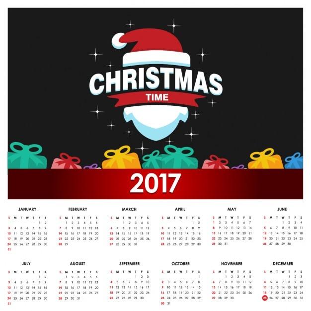Christmas Calendar 2017 : Nice christmas calendar vector free download