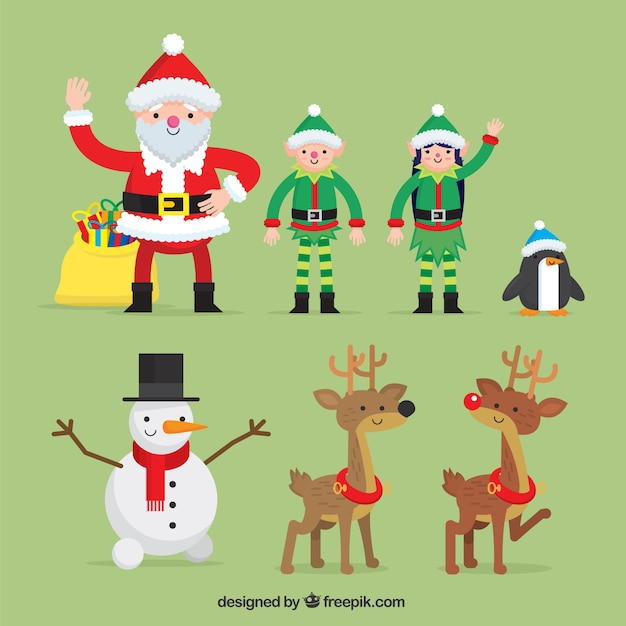 Nice christmas characters in flat design