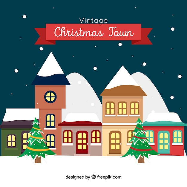 Nice christmas city background in flat design