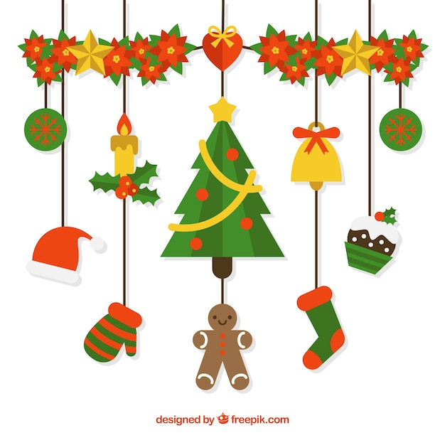 Nice christmas decoration in flat design