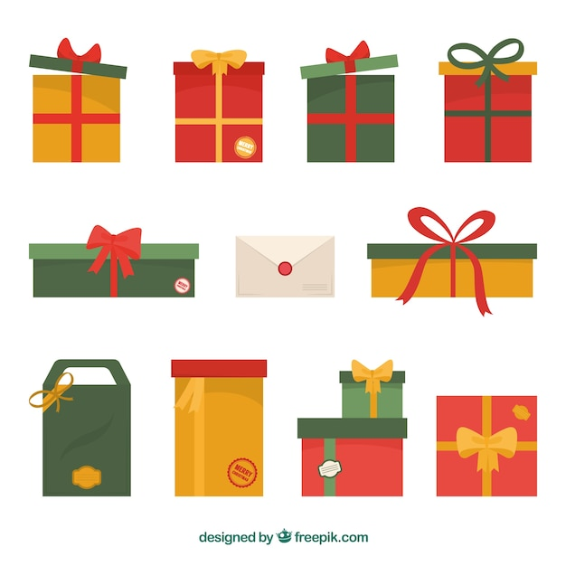 Nice christmas gifts in flat design