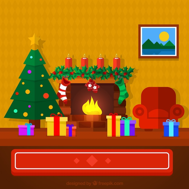 Nice christmas living room in flat design