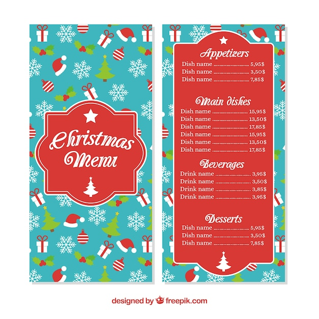 Nice christmas menu with elements in flat design