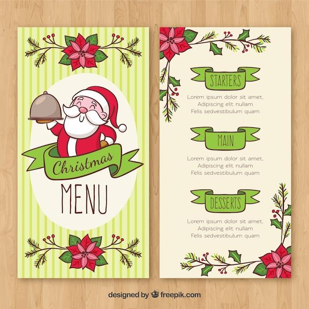 Nice christmas menu with santa claus hand drawn