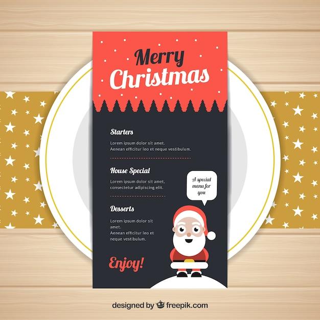 Nice christmas menu with santa claus