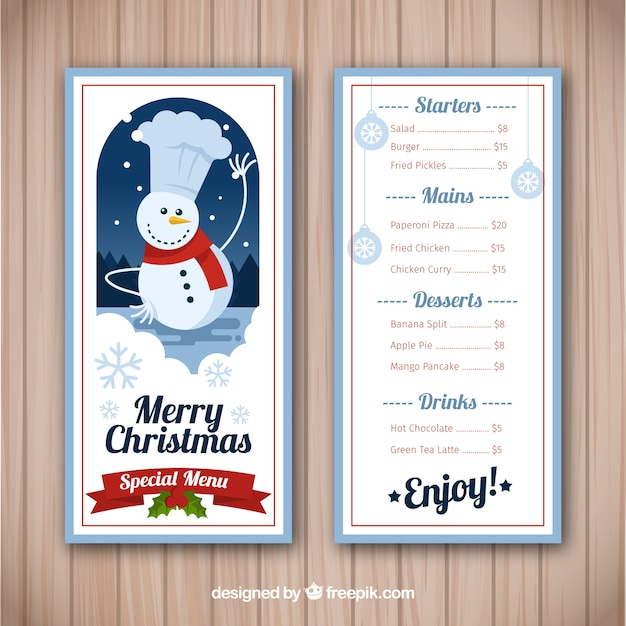 Nice christmas menu with snowman
