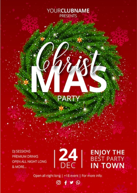 Nice christmas party poster with red Free Vector