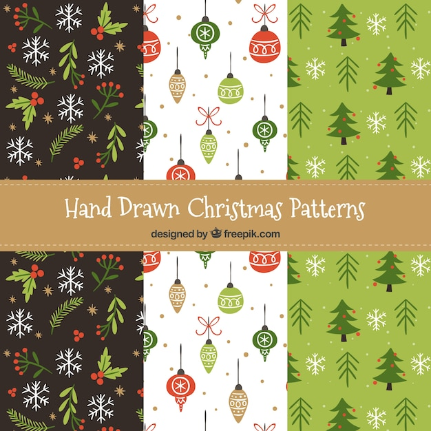 Nice christmas patterns set Vector | Free Download
