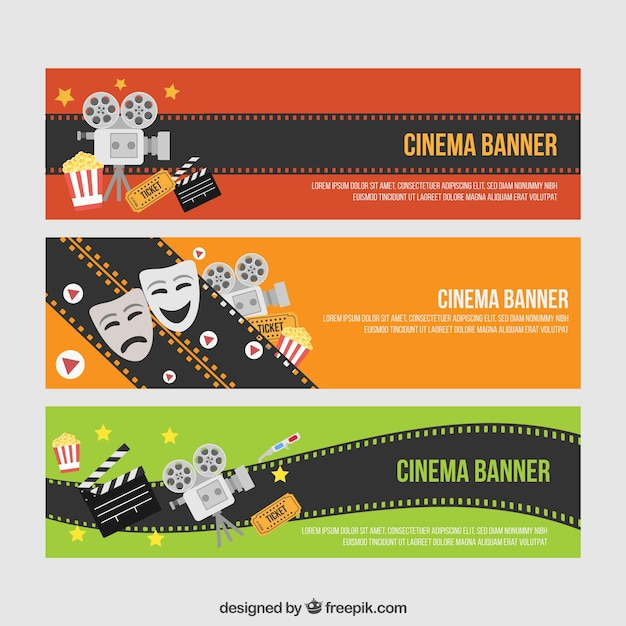 Nice Cinema Banners With Movie Elements Premium Vector