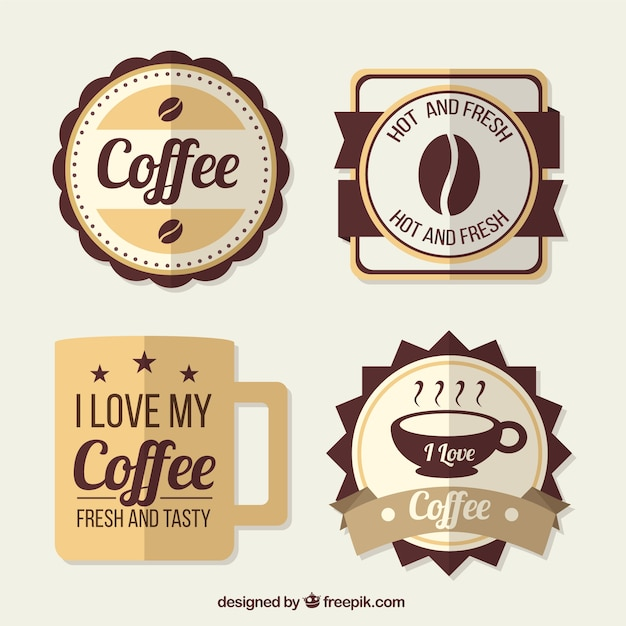 Nice coffee badges in retro style