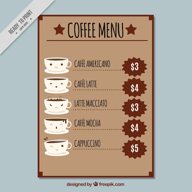 Nice coffee menu in flat design Free Vector