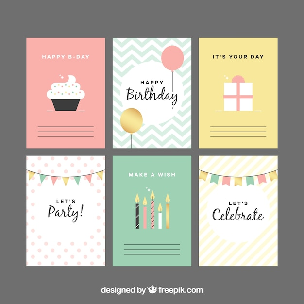Nice collection of birthday cards in vintage style Vector – Photo of Birthday Cards