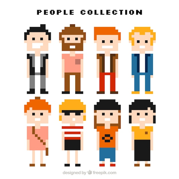 Nice collection of pixelated men and\ women
