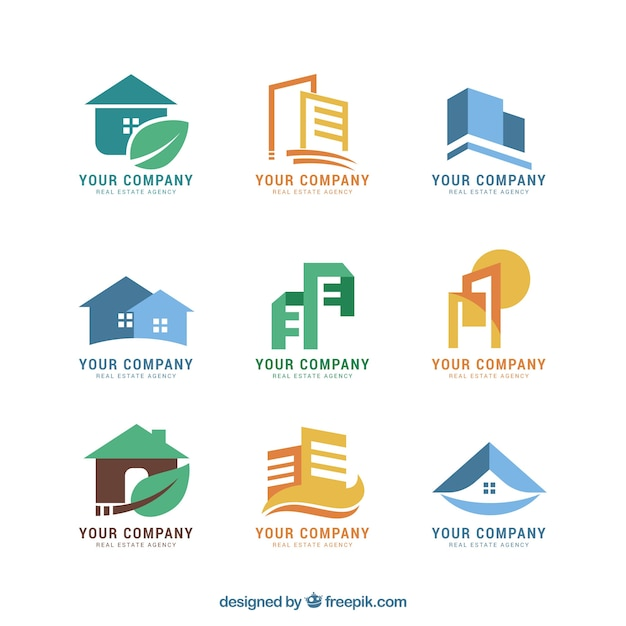 Building Design Software Freeware: Nice Colourful Collection Of Real Estate Logos Vector