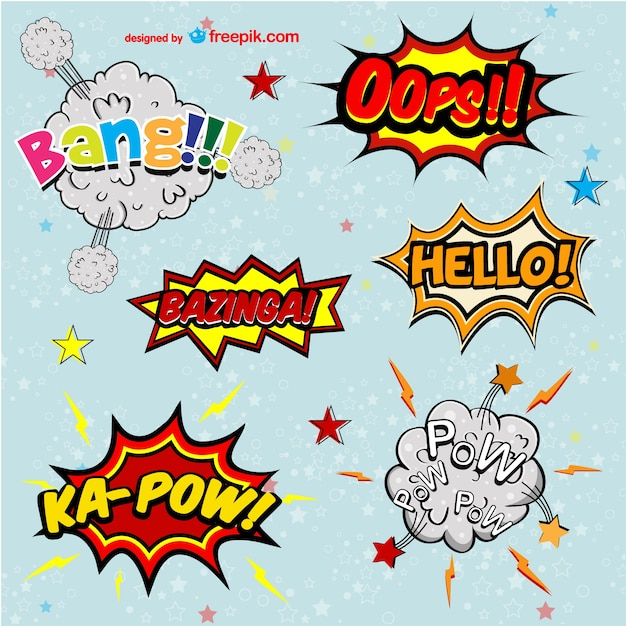 nice comic book onomatopeyas vector free download. Black Bedroom Furniture Sets. Home Design Ideas