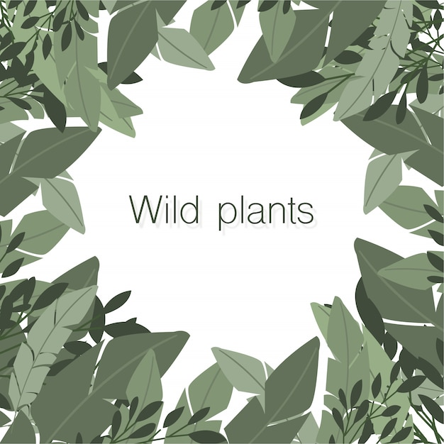 Nice composition of wild plants with copyspace in the center Free Vector