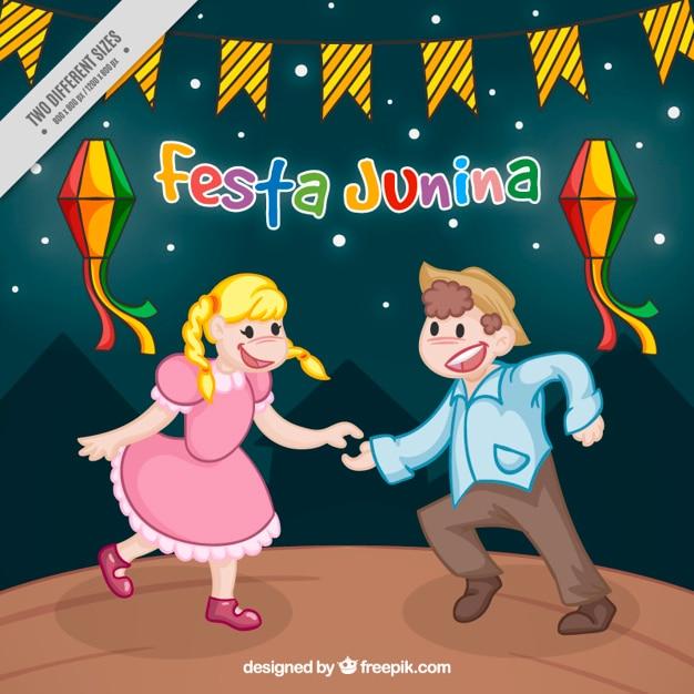 Nice couple dancing in festa junina\ background