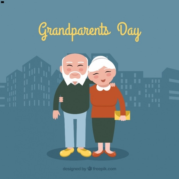 nice couple of grandparents in the city background