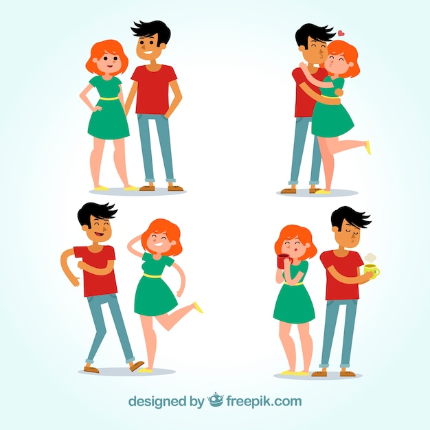 Nice couple pack Free Vector
