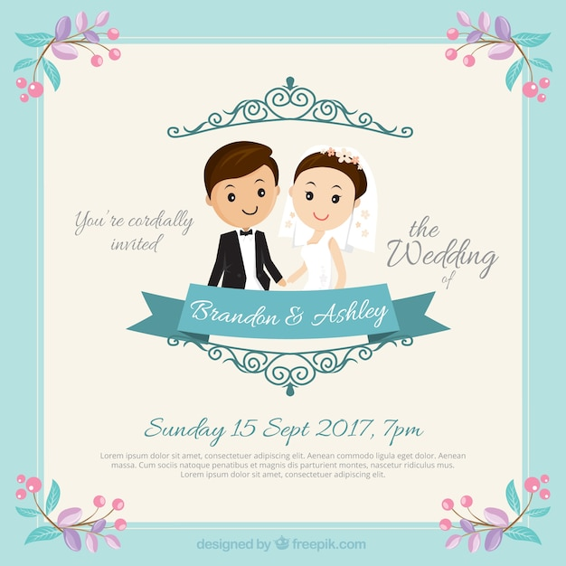 Nice couple wedding invitation Free Vector
