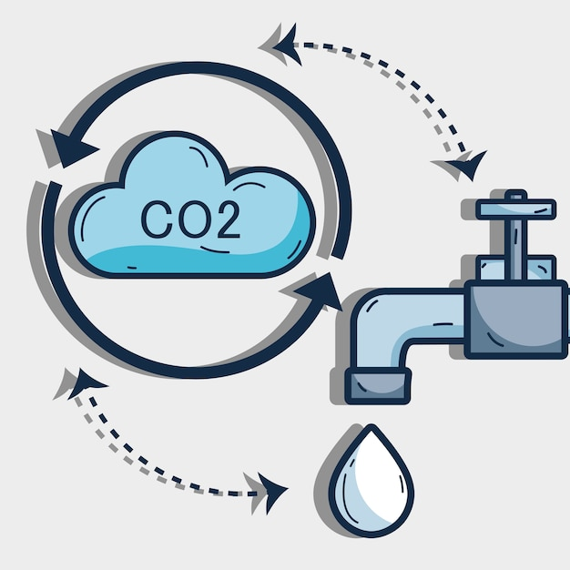 Nice cycle of water with cloud and faucet Premium Vector
