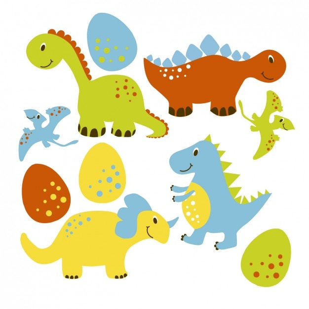Nice dinousaur collection Free Vector