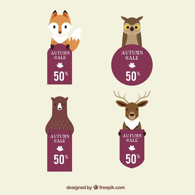 Хорошие наклейки скидка с лесными животными Бесплатные векторы