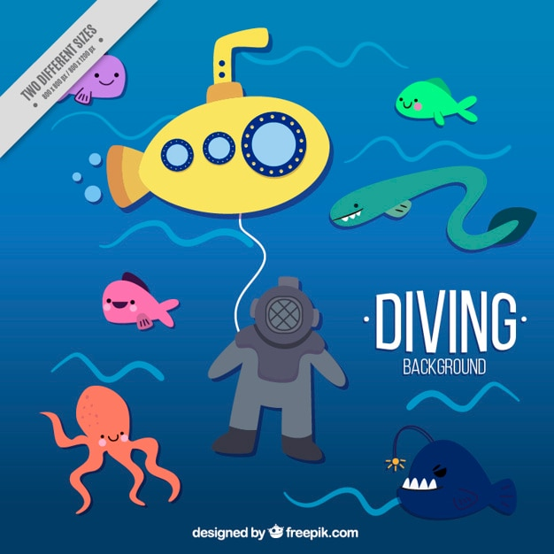 Nice diving background with a yellow submarine Free Vector