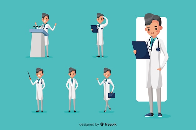 Nice doctor doing different actions Free Vector