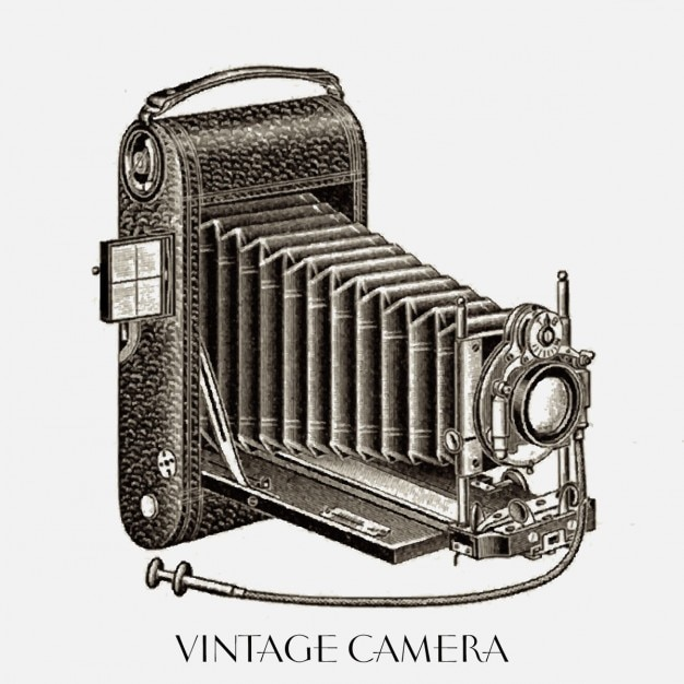 Nice drawing of a vintage camera Free Vector