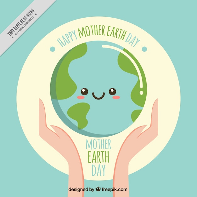 Nice earth day vintage background Free Vector