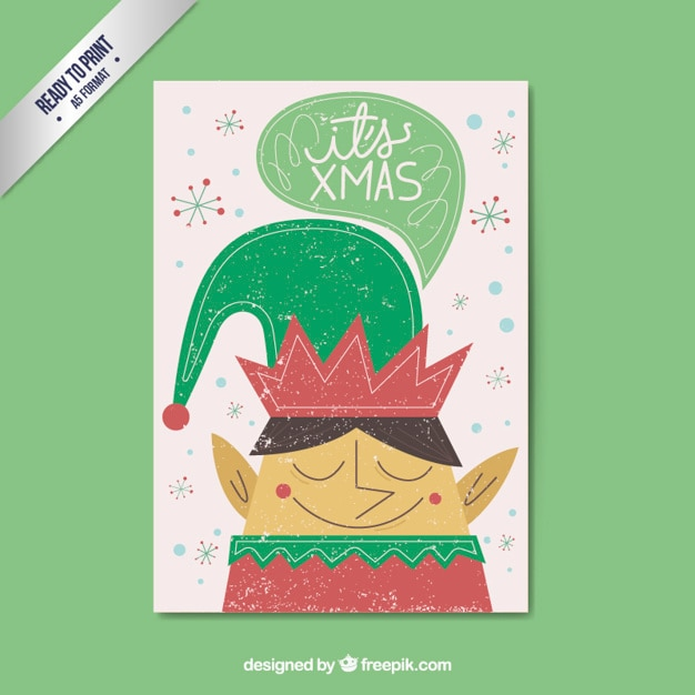 Nice elf christmas card in a retro style