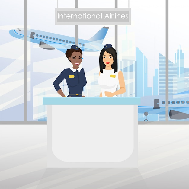 A nice european flight attendant and african american stewardess at the desk with an airport. international airlines. illustration in flat cartoon design. Premium Vector