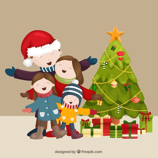 Nice family christmas scene singing together Vector | Free Download